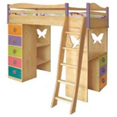 wooden loft bed features butterfly shape - my son may be likes it as he just came back from butterfly farm