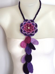 crochet flower necklace in purple and violet
