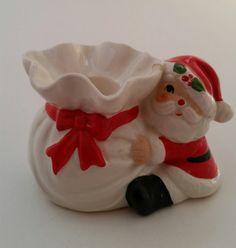Fitz & Floyd Santa Candlestick Holder/Santa Holding Gift Bag Candlestick Holder/Vintage Fitz and Floyd/Santa Candlestickholder/Christmas by NatomisTreasures on Etsy Candlestick Holders, Candlesticks, Cow Decor, Santa Head, Vintage Holiday, Hand Painted Ceramics, Vintage Items, Bows, Gifts
