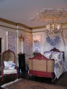 French themed dolls house bedroom