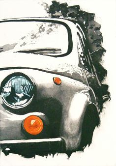 'Fiat 500' etching by Paul Fitters