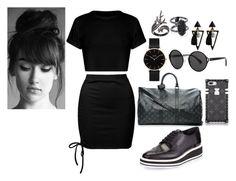 """# ~~Black look"" by abella21 on Polyvore featuring moda, Sans Souci, Prada, CLUSE, Lord & Taylor, Kendra Scott e Louis Vuitton"