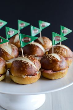 Ham and Cheese Soft Pretzel Sliders by @Nikki (Pennies on a Platter)