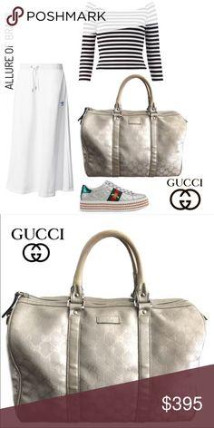 c0dbd7bcf Gucci Silver GG Coated Canvas Joy Boston Bag The Gucci Silver GG Coated  Canvas Large Joy