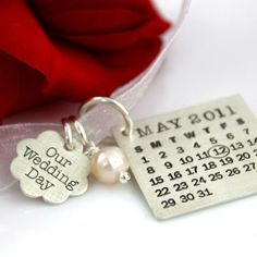 #Personalized #Wedding Mark Your Calendar Bouquet Charm and Necklace by Punky Jane   Hatch.co