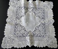 Maria Niforos Valencienne Lace Handkerchief w/ Royal Provenance