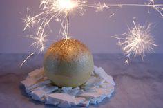 icecream sphere with glitter and meringue