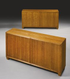 Jean-Michel Frank  PAIR OF OAK CABINETS  31 1/2  x 58 7/8  x 13 3/4  in. (80 x 149.5 x 34.9 cm)  circa 1930  produced by Adolphe Chanaux, Paris