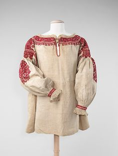 Blouse Date: late 19th century Culture: Spanish Medium: linen, silk