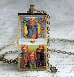 Virgin Mary Art Pendant Glass Tile Pendant by DesignsofFaithandJoy