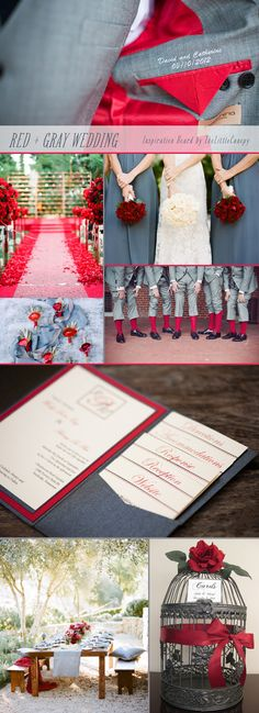Who says your wedding can't be bold! Let's combine a really bold and romantic red color with a dark gray! A great way to add color but still have a sophisticated and mature feel. The richer the red, the better! Enjoy.