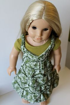 Green Tiered Maxi Dress for American Girl or by OrangeDotDesigns, $16.00, made with Liberty Jane pattern