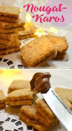 Nougat-Karos: Zarte Keks-Doppeldecker. Nussiges Plätzchenrezept für Weihnachten, geht auch vegan