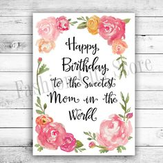 Happy Birthday Card for Mom - Watercolor Peonies - Printable - DIY - Instant Download