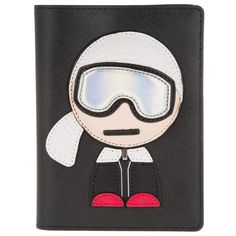 Karl Lagerfeld Small Leather Goods - Ski Holiday Passport Etui Black -... ($97) ❤ liked on Polyvore featuring bags, black, leather evening bags, pocket bag, logo bags, genuine leather bags and real leather bags
