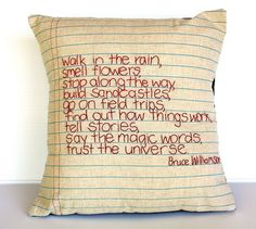 This would be cute to make for ur kids. Their fav poem, etc..... Stitched in their own handwriting.