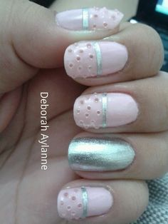 Light Pink and Silver Nails