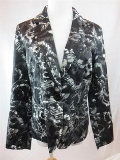 Chico's Womens Blazer Jacket Silk Blend Black White Gray Size 1 8 10 Medium | eBay $29.95