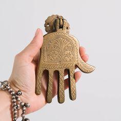 Vintage Hamsa Door Knocker | Moroccan Brass Hand of Fatima Hand Of Fatima, Door Knockers, Religious Art, Hamsa, Moroccan, Your Favorite, Indigo, Brass, Antiques