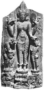 Parvati  Another variety of Parvati from Bengal is unique. In this illustration the four-armed Devi is holding clockwise: a fruit, a collyrium stick, a mirror and with the lower left hand on the head of Karttikeya, stands on a lotus with an iguana (godha) below.  Generally Bhattasali and others call this image Gauri, but credit goes to M Th de Mallmann for calling this  image Lalita after the description of the Agni-Purana