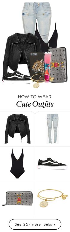 """I'm not really sure this is a cute going out Outfit"" by aanyahhh on Polyvore featuring Balmain, Linea Pelle, MCM, South Beach, Dolce&Gabbana, Vans and Alex and Ani"