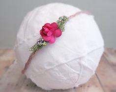 Newborn Feather Headband Flower Headband by ElizabethandDaniel