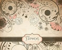 Vintage flower Clip Art, floral border - Clipart for scrapbooking, wedding invitation cards, black, Personal and Small Commercial Use.
