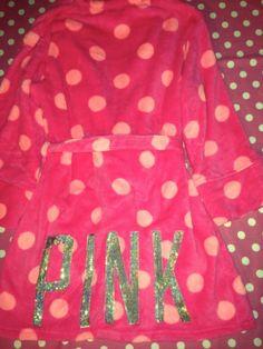 New Victoria Secret Pink Dot Sequin Bling Fleece Plush Short Robe Small M L | eBay