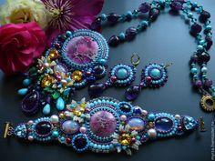 """Купить Комплект из бисера и натуральных камней """"В саду желаний"""" - розовый, голубой, комплект украшений"""