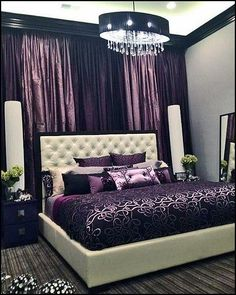Luxurious Purple Bedrooms HomeDesignBoard 20 Master Bedrooms with Purple Accents Home Design Lover 80 Inspirational Purple Bedroom Designs. Teen Girl Bedding, Girls Bedroom, Room Girls, Master Bedrooms, Bedroom Themes, Home Decor Bedroom, Modern Bedroom, Bedroom Photos, Bedroom Wall