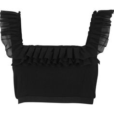 Black chiffon frill crop top - Tops - Sale - women from River Island Clothing. Saved to Clothes. Blouse Designs Catalogue, Stylish Blouse Design, Sari Blouse Designs, Designer Blouse Patterns, Fancy Blouse Designs, Sleeves Designs For Dresses, River Island, Lany, Ruffle Top