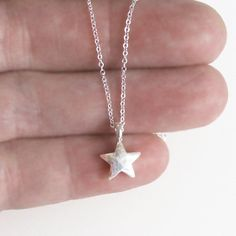 Tiny Sterling Silver Star Necklace Charm Chain by DJStrang on Etsy