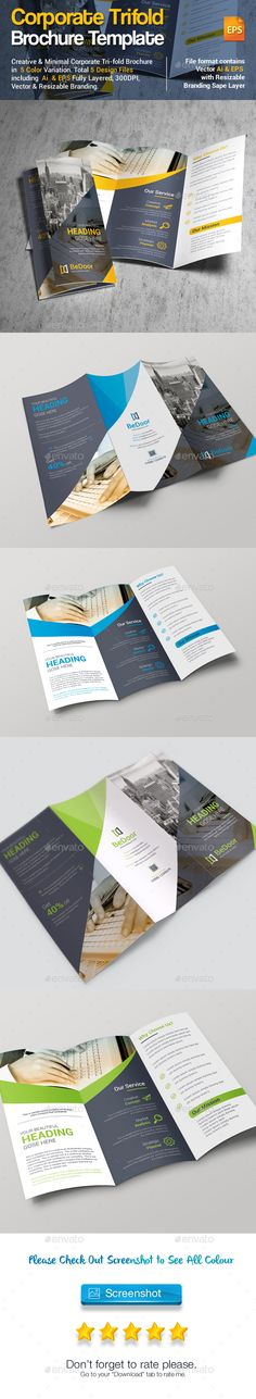 TriFold Brochure — Vector EPS #media #buttons • Download ➝ https://graphicriver.net/item/trifold-brochure/18821410?ref=pxcr