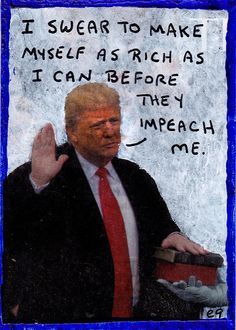 oath e9Art ACEO Trump Political Pop Art Original Collage Painting Humor Impeach  #PopArt