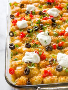 This Tater Taco Casserole is a Mexican mixture of taco meat, beans, corn, and cheese topped with tater tots and enchilada sauce. The family will love it. This Tater Taco Casserole is a dish that the whole family will love. I've made quite a few failed dinner attempts lately so redemption was in order. Everyone loves …