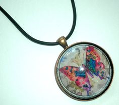 Butterfly Glass Pendant Necklace  1.5 Circle by BigTRanchSoap.etsy.com, $14.00