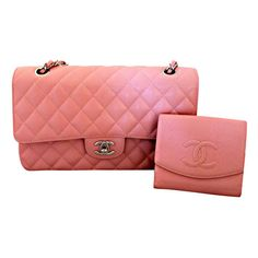 Chanel - Chanel soft pink caviar leather double flap bag-medium ❤ liked on Polyvore