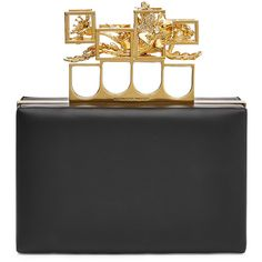 Alexander McQueen Leather Clutch found on Polyvore featuring bags, handbags, clutches, black, leather purse, mini handbags, real leather handbags, leather handbags and black purse