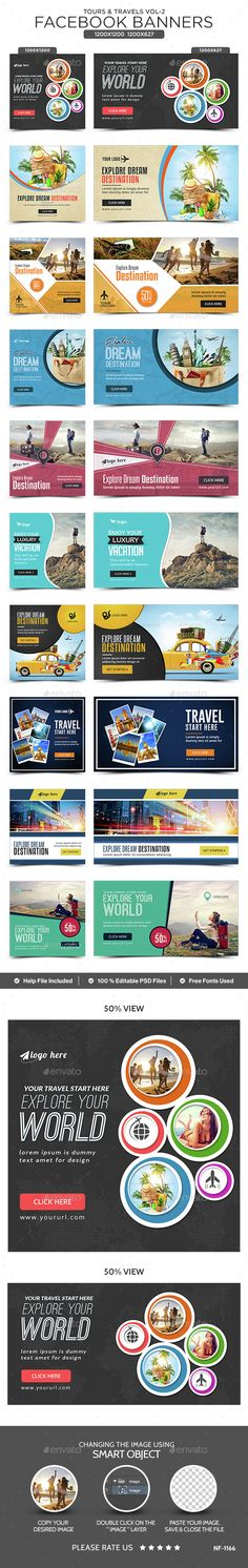 Tours & Travels Facebook Banners - 10 Designs - 20 Banners - #Social #Media Web Elements Download here: https://graphicriver.net/item/tours-travels-facebook-banners-10-designs-20-banners/15393784?ref=alena994