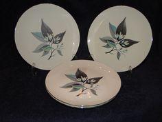 "$24.99 Homer Laughlin Rhythm Lotus HAI Flower Dinner Plate 10 1/4"" Set of FOUR NICE #HomerLaughlin"