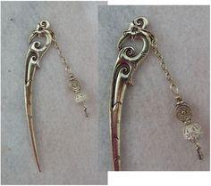 Silver Bird Charm Hair Stick New Shawl Pin Accessories Fashion Beaded Chain #Handmade #HairStick