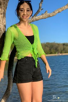 Sexy Summery Lime Green Ladies Sheer Shrugs. Super Lightweight Knit Cardigan. You can roll this up in your bag and pop on after the sun goes down. Throw over a summer dress, jeans or shorts.  #casual #fashion #luau #cruisewear #summer #beachcoverup #bolero #cruisewear #beachcardigan #cardigan #over-swim