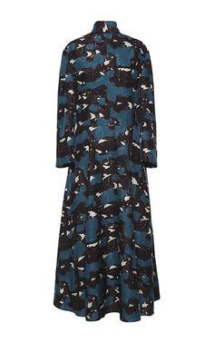 Tussah silk tie neck midi dress by MARNI Now Available on Moda Operandi