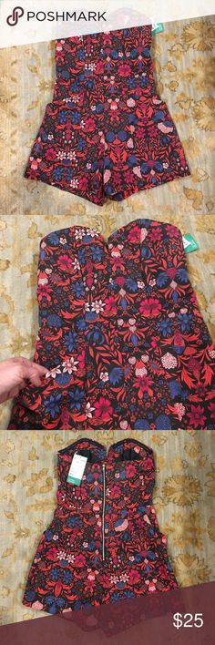 NWT Floral strapless romper. Super cute romper brand new with tags.  Exposed zipper up the back and cute front pockets. H&M Other