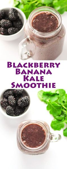 This Blackberry Banana Kale Smoothie is a great way to get your greens in or sneak them in for your kids... no one will know there is Kale in this!