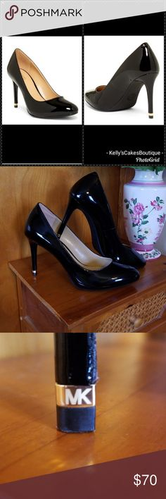 8544c3723003 Shop Women s Michael Kors Black size 8 Heels at a discounted price at  Poshmark. Gold band with MK logo on each heel.