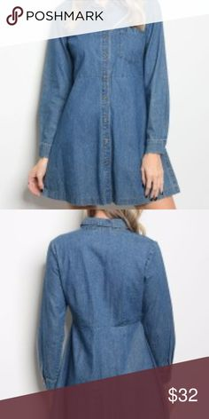 Denim skater dress Denim button up dress 70% COTTON 30% POLYESTER With this jean dress all you need is a statement necklace and some cream booties and you will be on your way! Dresses