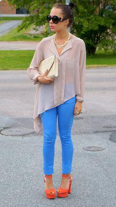 blue pants. orange heels