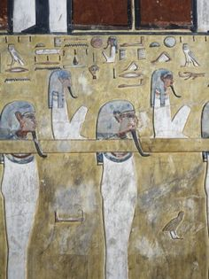 Egypt, Thebes, Luxor, Valley of the Kings, close-up of mural paintings in main hall of Tomb of Seti I