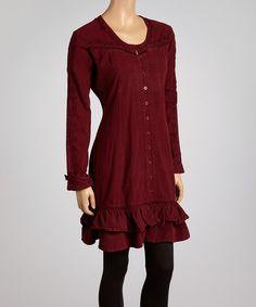 Take a look at this Burgundy Embroidered Ruffle Dress - Women on zulily today!